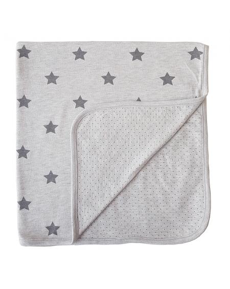 Manta reversible  estrellas/puntos gris