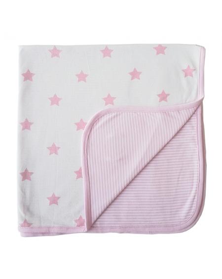 Manta reversible  estrellas/lineas rosada
