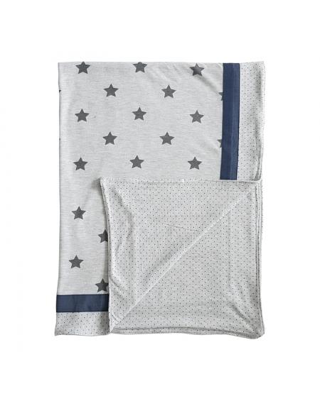 Manta delgada grande gris estrellas