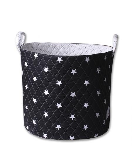 Canasto grande negro estrellas blancas