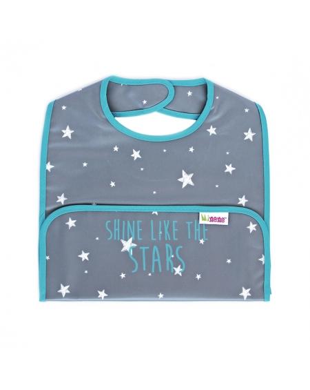 Babero bolsillo gris estrellas